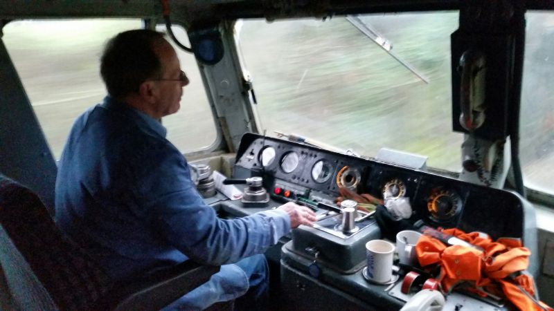 Keith Netherton at the controls of 47701.