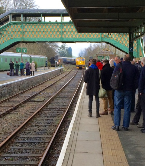 A good crowd awaiting the arrival of 33103 'Swordfish' on Okehampton's platform 3