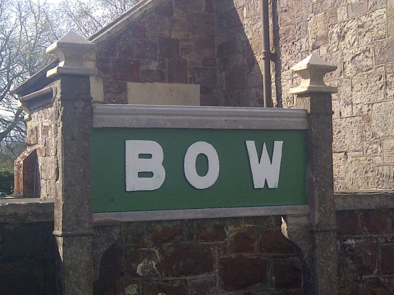The rebuilt sign at Bow.