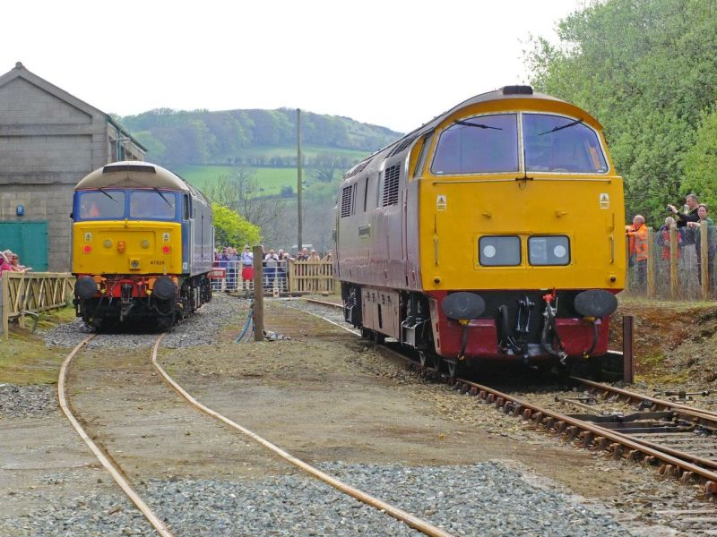 Busy scene at Meldon. New DR traction Class 47 47828, and visiting railtour locomotive D1015 Western Champion.