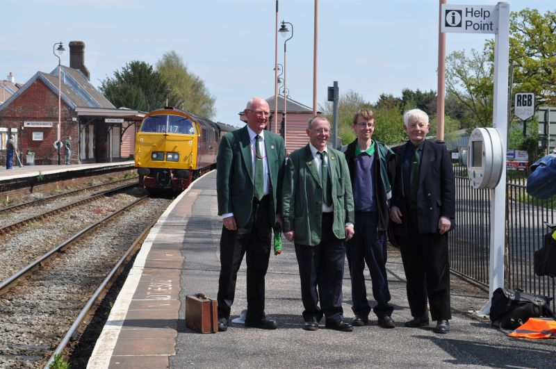 The DR team joining the railtour at Crediton: (l to r) Dennis Leworthy, guard, Keith Netherton, driver/pilotman, John Caesar and Gerald Hocking. The latter 2 were selling tickets for the run round trip to Meldon