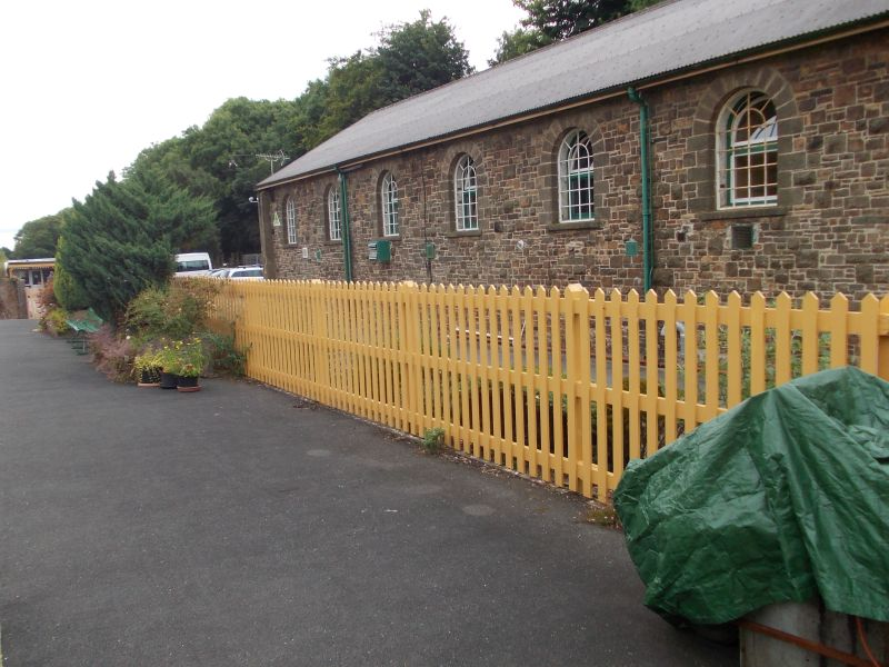 Some of the smartly painted fencing on Platform 2
