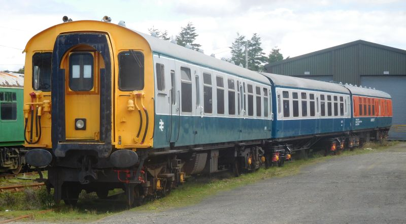 The new air braked set in the yard at Meldon with newly overhauled and painted 70273 in between driving trailer 61743 and Lab11.