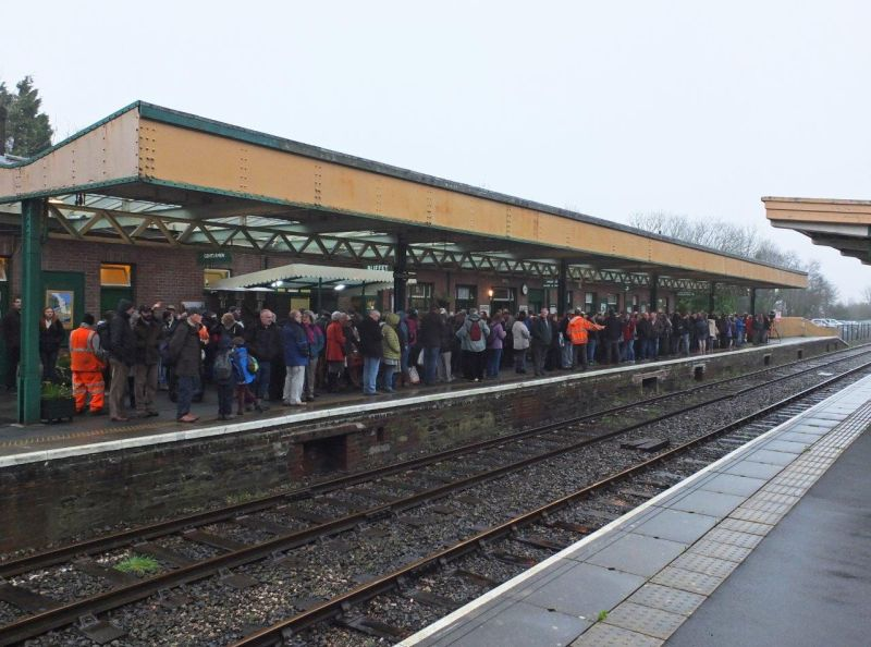 500 passengers on Okehampton station await the first London service for five decades.