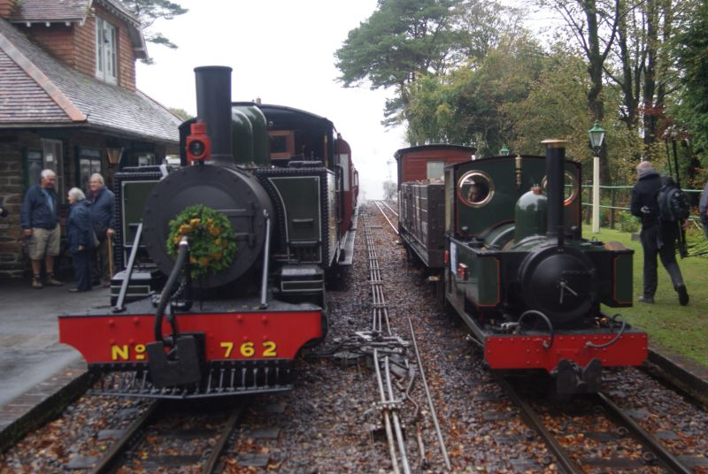 'Lyn' and  the diminutive 'Faith' at Woody Bay. The latter is an 0-4-2T built from scratch by LBR engineer John Uphill, and currently for sale.