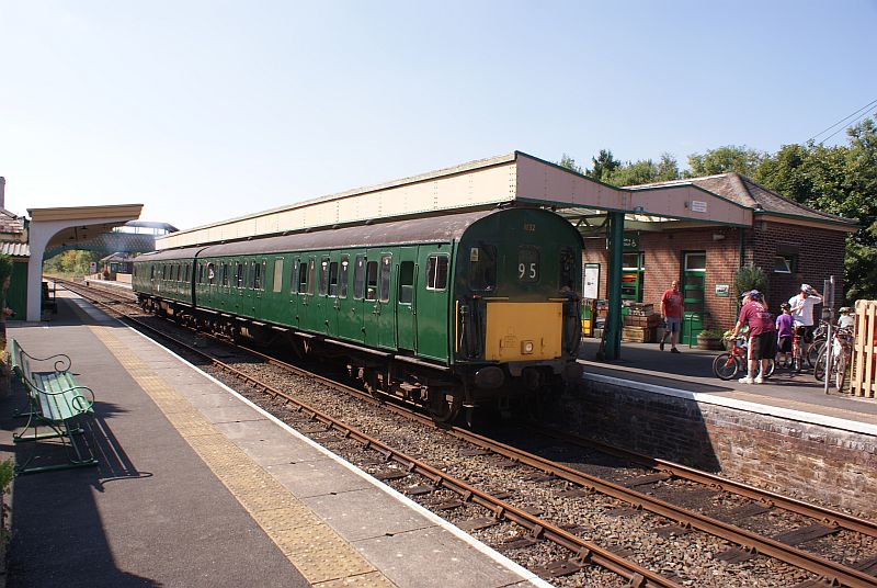Thumper 1132/205032 leaving Okehampton with the 1505 to Coleford Junction and return