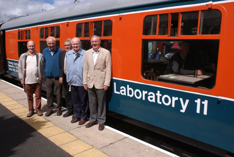Former local railwaymen (l to r) Terry Midgley, Leonard Phare, Les Glidden, Gerald Smallacombe and Richard Westlake