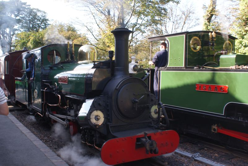 At the Lynton & Barnstaple Railway's Autumn Steam Gala - the Festiniog Railway's 1893 Hunslet 2-4-0 'Blanche' arrives at Woody Bay with a passenger service alongside 1953 Bagnall 0-4-2T 'Isaac'.