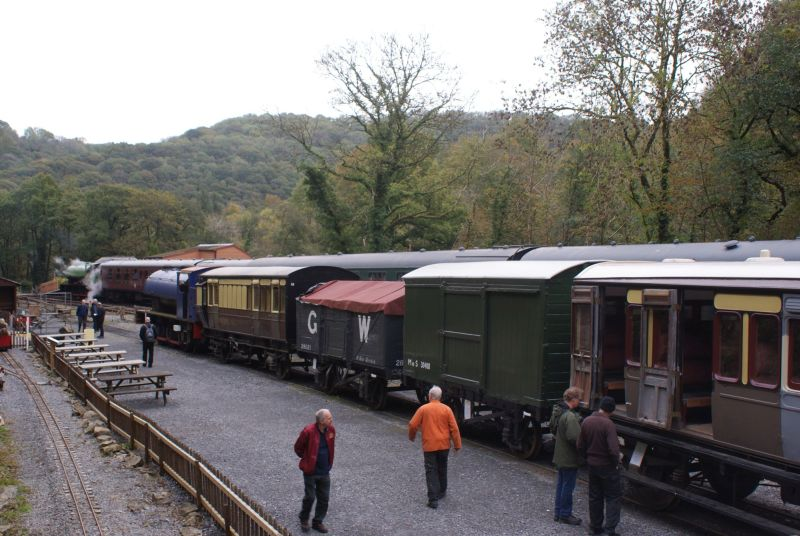 Line-up at Llwyfan Cerrig on the Gwili Railway with 1955 Hunslet 0-6-0ST no 3829, 1891 Taff Vale coach 220, GW open wagon 28021, 1940 MoS goods van, 1888 GWR carriage 216,