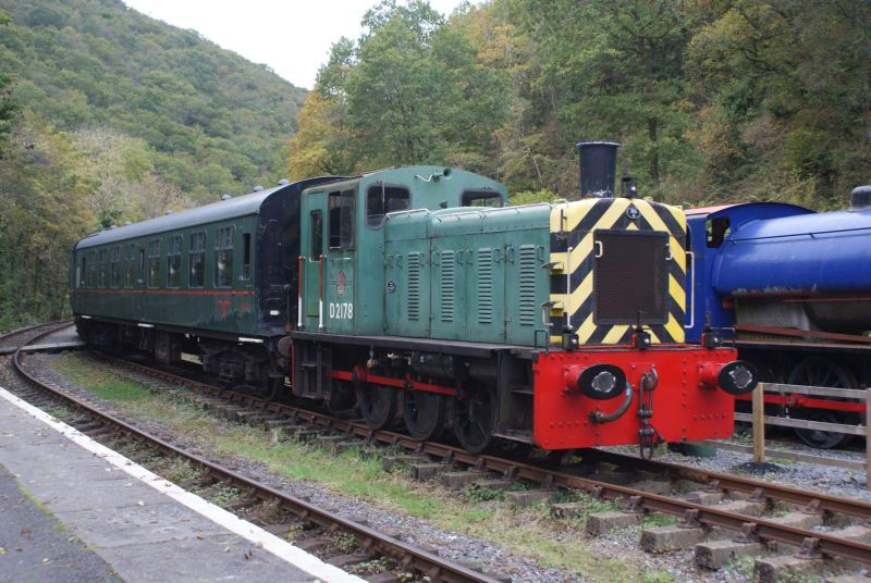 1962 Class 03 shunter D2178 operating a shuttle between  Llwyfan Cerrig and Danycoed Halt during the Gwili Railway's Autumn Gala.
