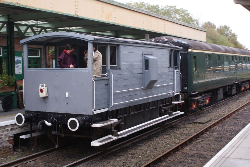 The LMS brake van at Okehampton, showing the new veranda doors and some flashy white paintwork.