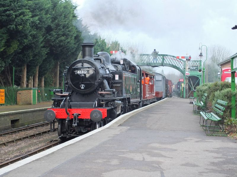 Ivatt Class 2 2-6-2 tank 41312 at Alresford with a demonstration freight
