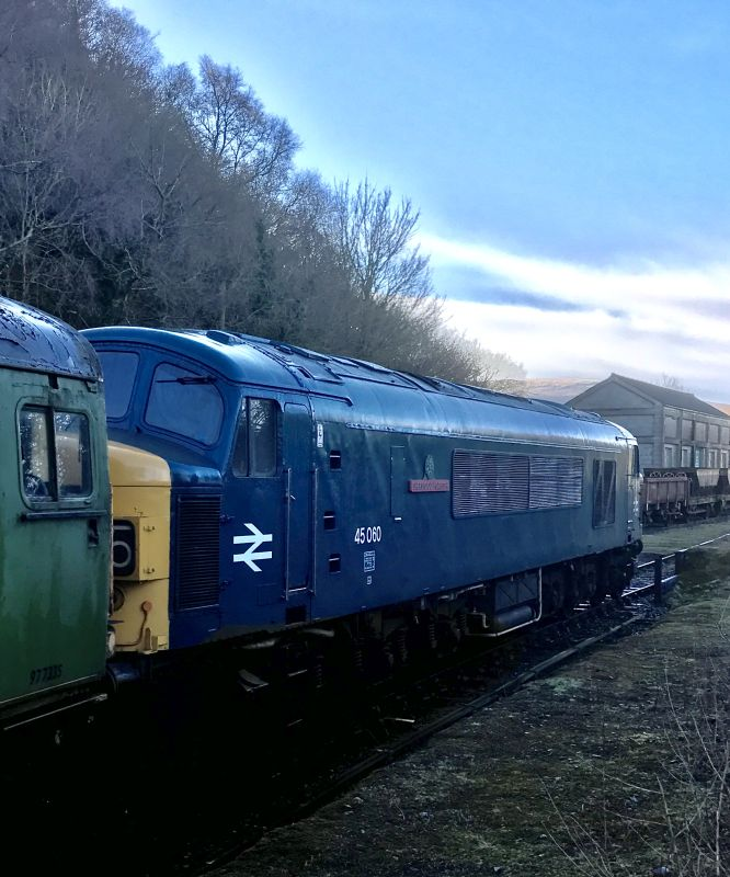 45060 'Sherwood Forester' at Meldon with the first train of the weekend